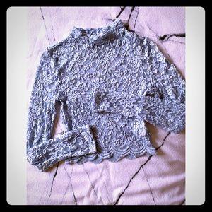H&M baby blue lace crop top
